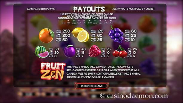 Fruit Zen slot screenshot 1