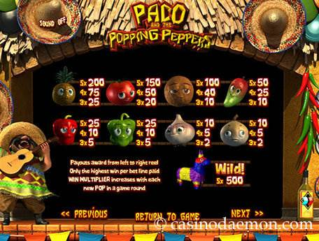 Paco and the Popping Peppers slot screenshot 4