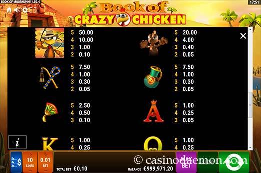 Book of Crazy Chicken slot screenshot 4
