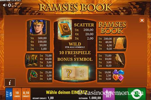 Ramses Book Spielautomat screenshot 4