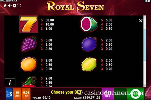 Royal Seven Spielautomat screenshot 1