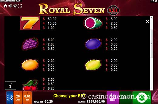 Royal Seven XXL Spielautomat screenshot 1