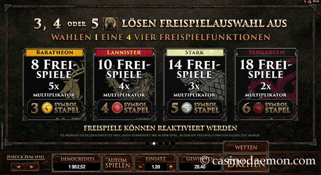 Game of Thrones  Spielautomat screenshot 4