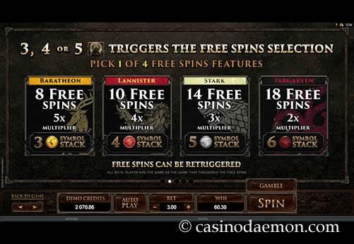 Game of Thrones slot screenshot 4