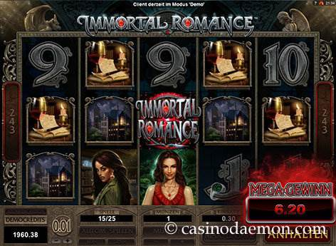 Immortal Romance Spielautomat screenshot 2