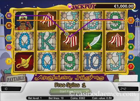 Arabian Nights slot screenshot 3