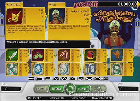 Arabian Nights slot screenshot 4