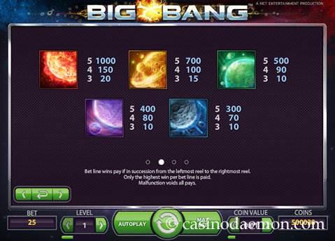Big Bang slot screenshot 4