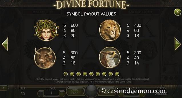 Divine Fortune slot screenshot 4