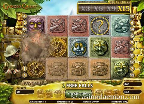 Gonzo's Quest Spielautomat screenshot 3