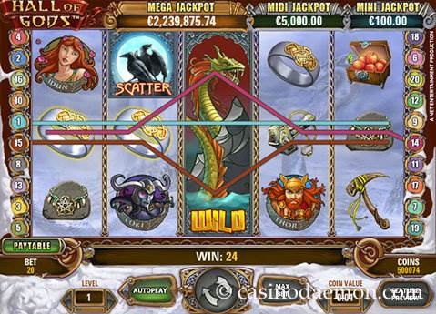 Hall of Gods slot screenshot 2