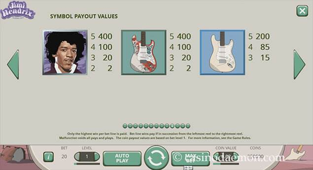 Jimi Hendrix slot screenshot 4