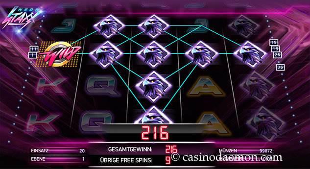 Neon Staxx Spielautomat screenshot 3