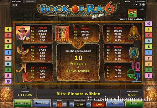 Book of Ra Deluxe 6 Spielautomat screenshot 4