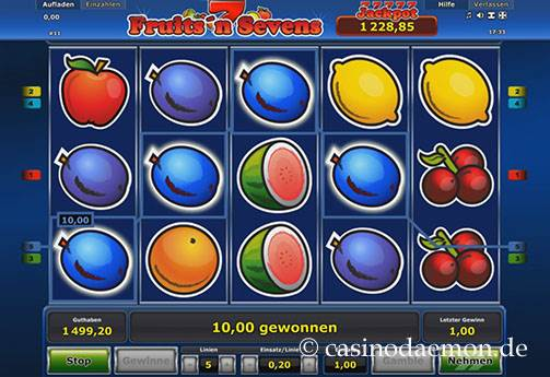 Fruits'n Sevens Spielautomat screenshot 1