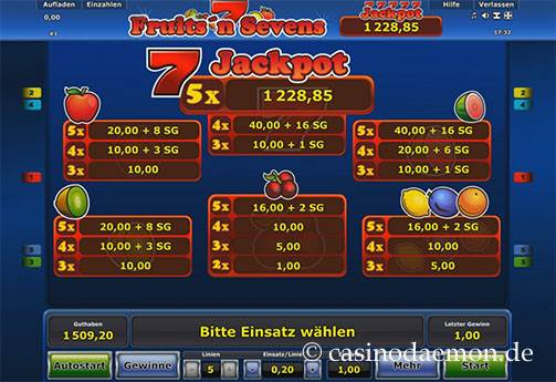 Fruits'n Sevens Spielautomat screenshot 4