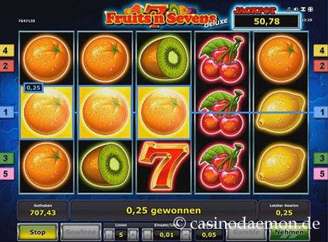 Fruits'n Sevens Deluxe Spielautomat screenshot 1