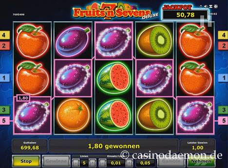 Fruits'n Sevens Deluxe Spielautomat screenshot 2