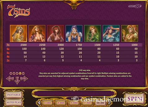7 Sins Spielautomat screenshot 4