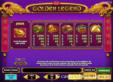 Golden Legend Spielautomat screenshot 4