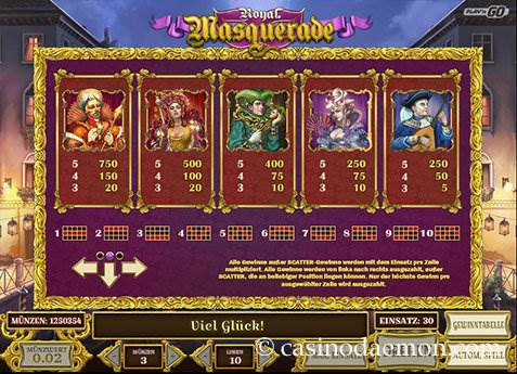Royal Masquerade Spielautomat screenshot 4