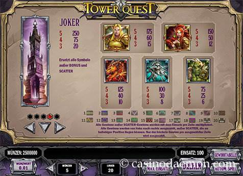 Tower Quest Spielautomat screenshot 4